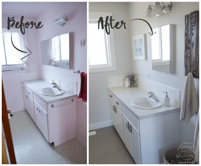 Remodelaholic diy bathroom remodel on a budget and - Before and after small bathroom remodels ...