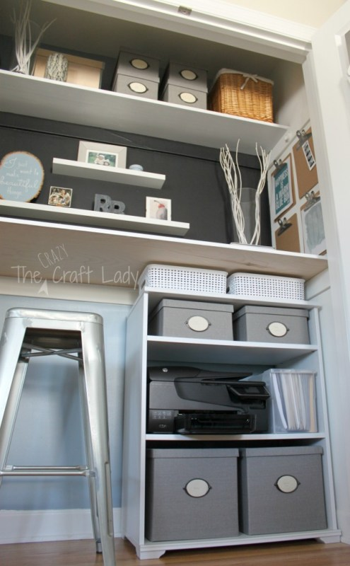 Closet transformation into home office and craft space - The Crazy Craft Lady featured on @Remodelaholic