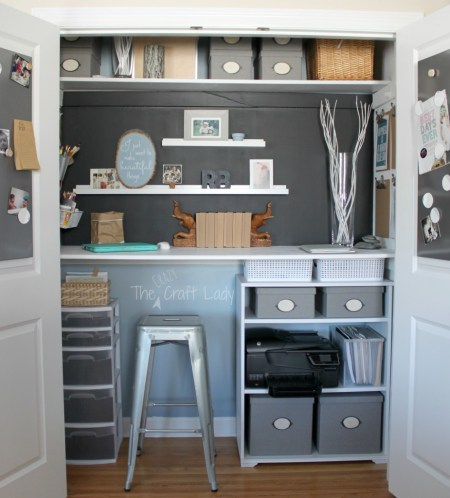 Closet turned home office and craft space - The Crazy Craft Lady featured on @Remodelaholic