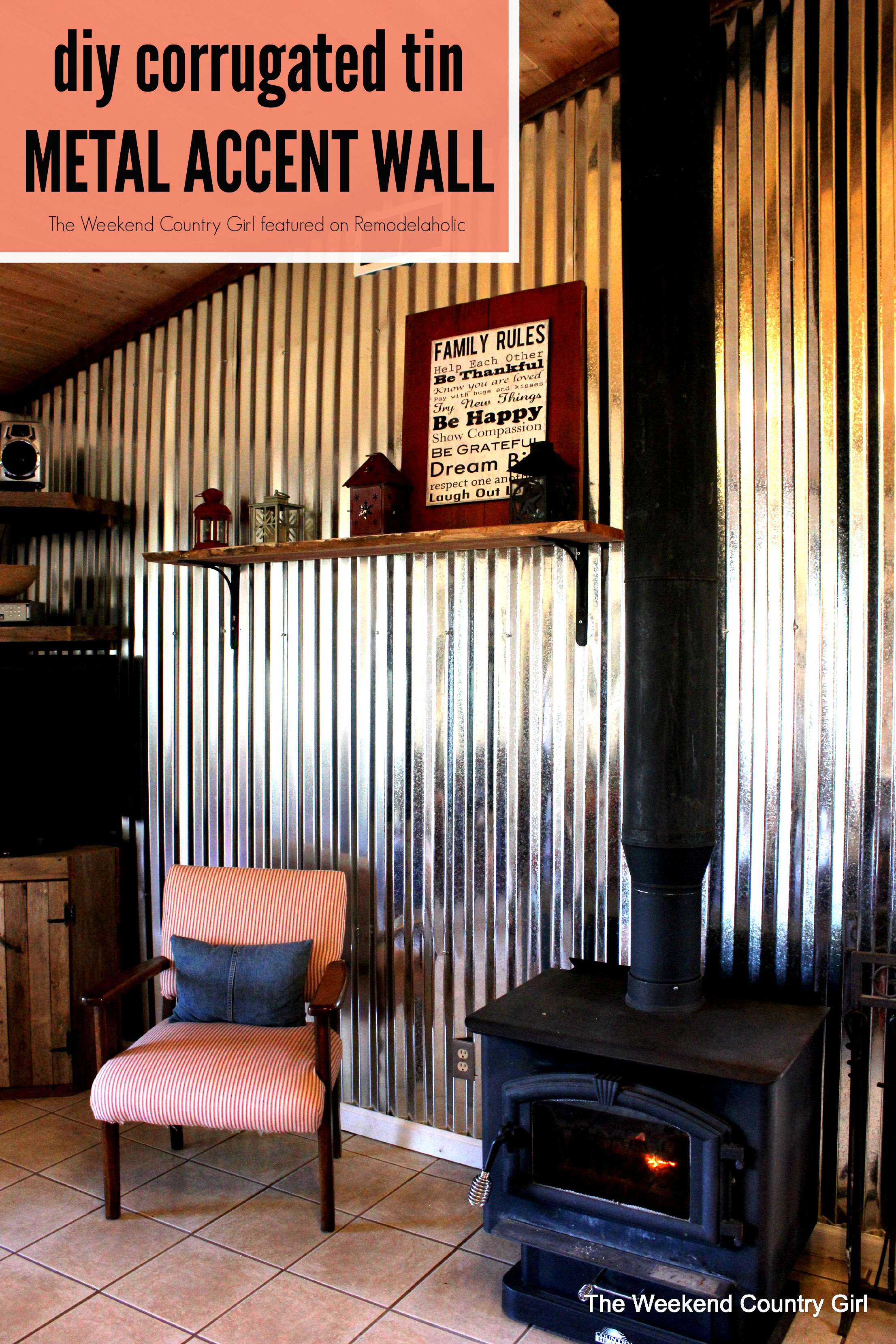 corrugated steel chair rail keekaroo high review remodelaholic diy tin wall tutorial create your own metal sheet accent the weekend country girl featured on