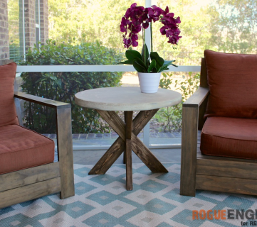 DIY X-Brace Concrete Side Table Plans | Rogue Engineer for Remodelaholic