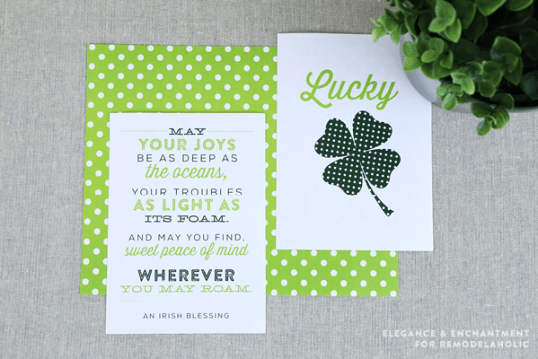 Get ready for St. Patrick's Day with these Irish inspired art printables from Elegance and Enchantment, for Remodelaholic  3 free printables included