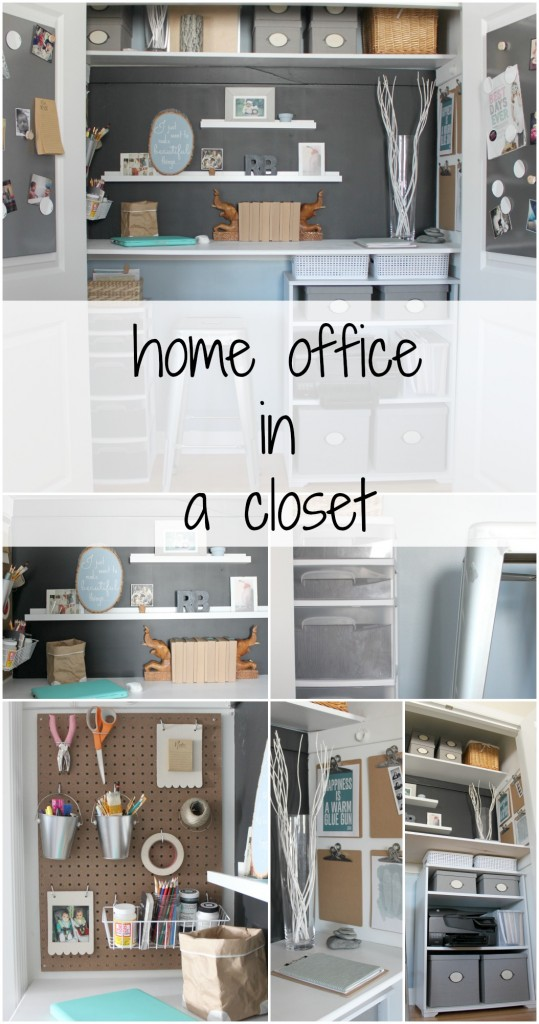 Transform a closet into a home office - The Crazy Craft Lady featured on @Remodelaholic
