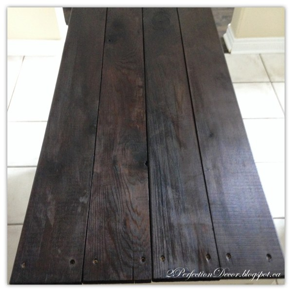 Wood plank top for kitchen island upcyle by 2Perfection Decor featured on @Remodelaholic