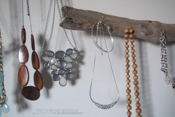 $5 DIY Driftwood Jewellery Organizer  The Learner Observer for Remodelaholic.com