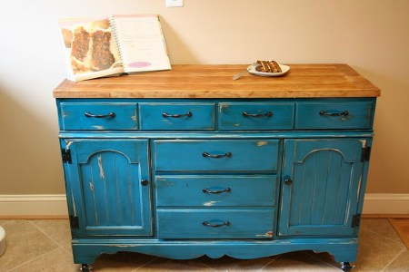 colorful dresser kitchen island upcycle