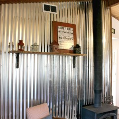 Corrugated Steel Chair Rail Grey Tufted Dining Remodelaholic Diy Tin Wall Tutorial Metal Sheet The Weekend Country Girl Featured On