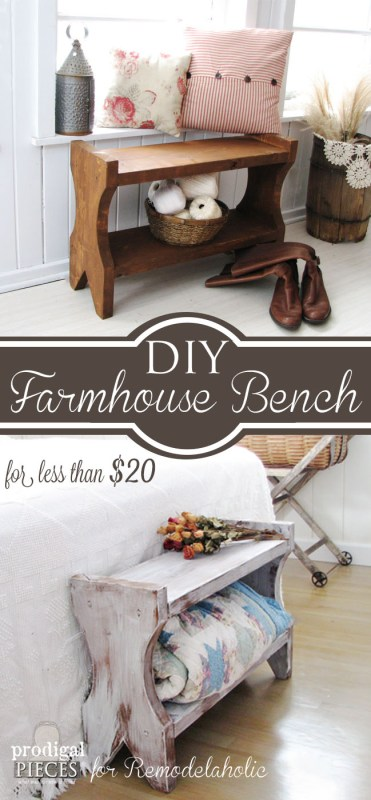 Build this small rustic farmhouse bench for under $20! Tutorial from Prodigal Pieces on Remodelaholic.com