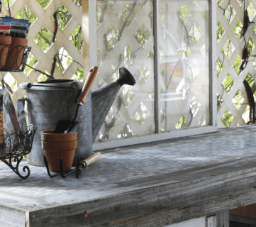 How to Build a Potting Bench from Reclaimed Wood and Old Windows