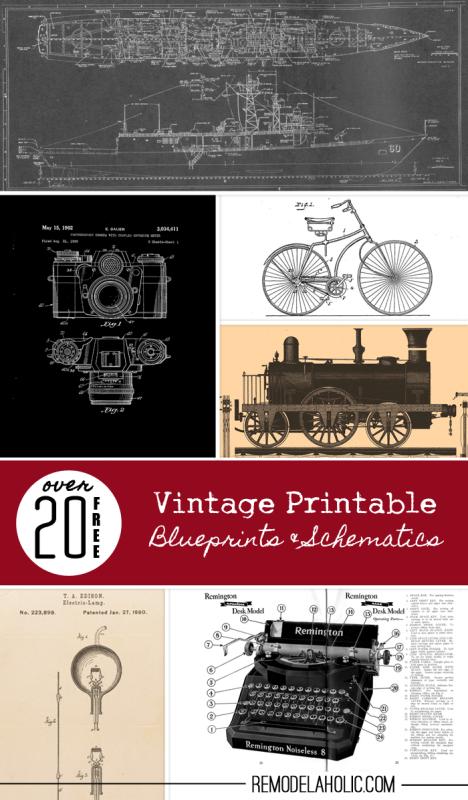 20+ Free Vintage Printable Blueprints and Schematics   Remodelaholic.com #printables #blueprint #art