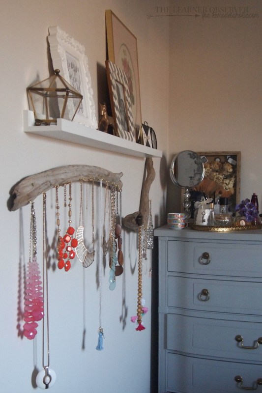 $5 DIY Driftwood Jewellery Organizer  The Learner Observer for Remodelaholic.com