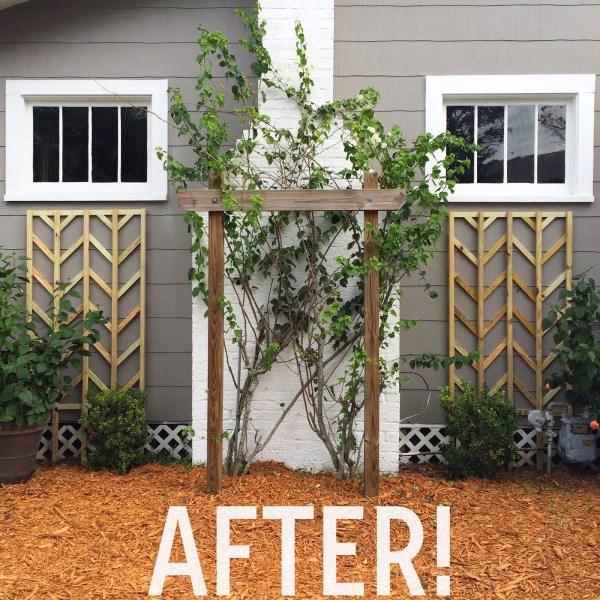 tutorial, diy herringbone style lattice for outdoor flowers beds - Easter Avenue Co on @Remodelaholic