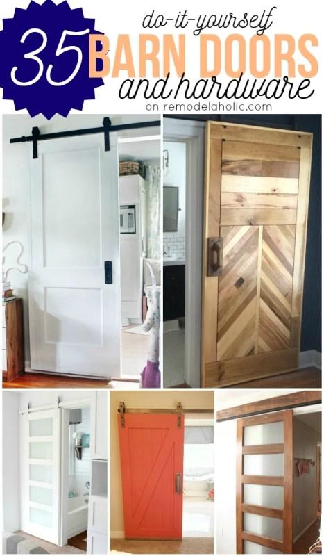 35 DIY Barn Doors plus budget-friendly rolling door hardware sources to buy or make yourself @Remodelaholic