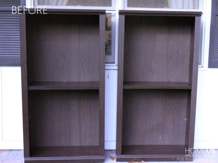 Bookcases before -HMBC for Remodelaholic