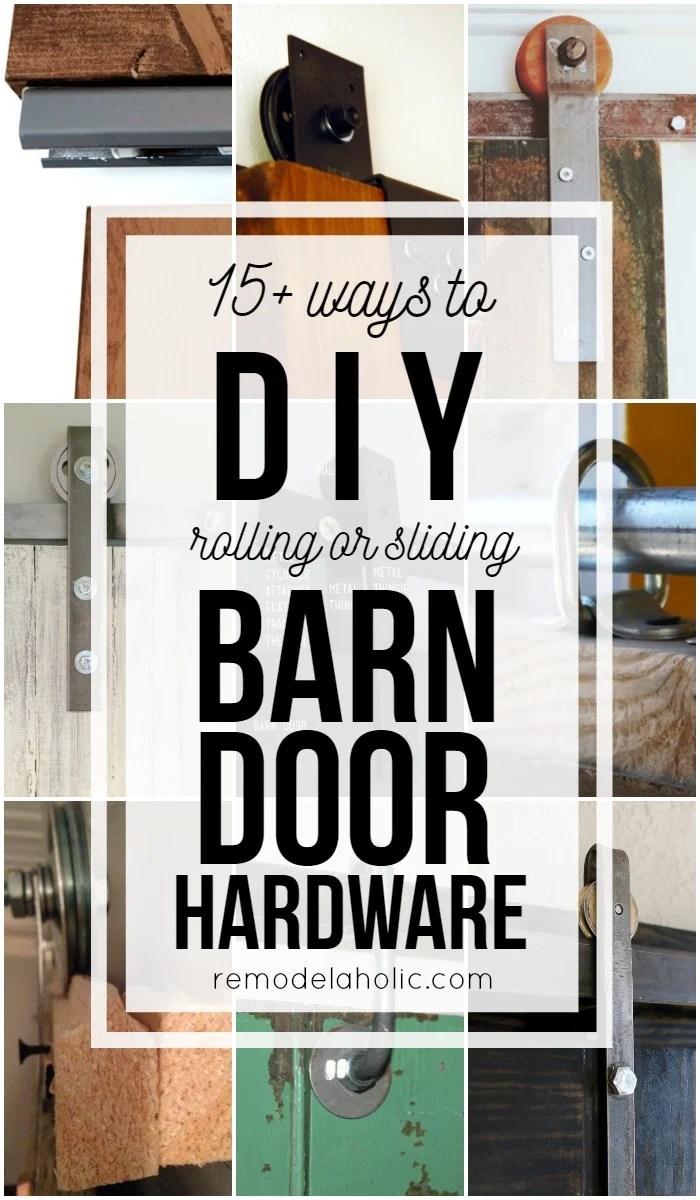Budget-friendly and inexpensive methods for making your own rolling or sliding barn door hardware & Remodelaholic | 35 DIY Barn Doors + Rolling Door Hardware Ideas