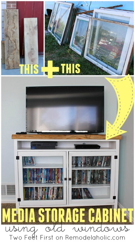Build a Media Storage Cabinet TV Console using Old Windows - Two Feet First on @Remodelaholic