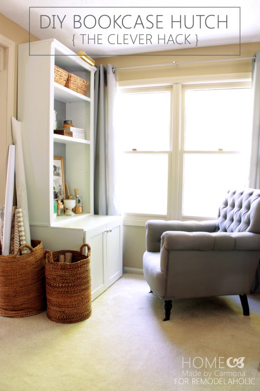 DIY Bookcase Hutch Hack - Home Made by Carmona for Remodelaholic.com