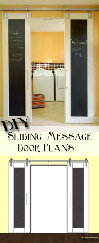 Combine two fun home decor trends, sliding barn doors and chalkboards. Build DIY double sliding doors with free plans on @Remodelaholic.