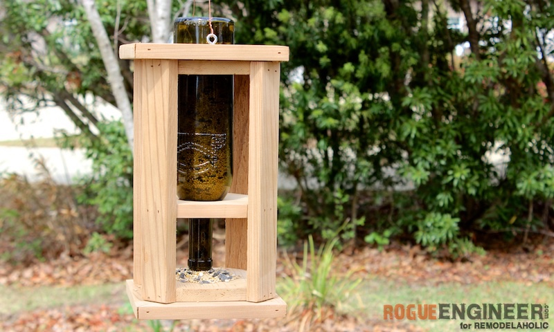 Remodelaholic Diy Wine Bottle Bird Feeder