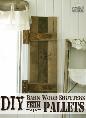 DIY Barn Wood Shutters from Reclaimed Pallets by Prodigal Pieces via Remodelaholic