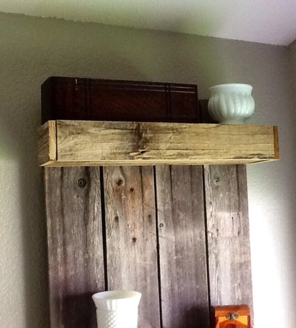 How to buid a rustic shelf using reclaimed wood by The Weekend Country Girl featured on @Remodelaholic