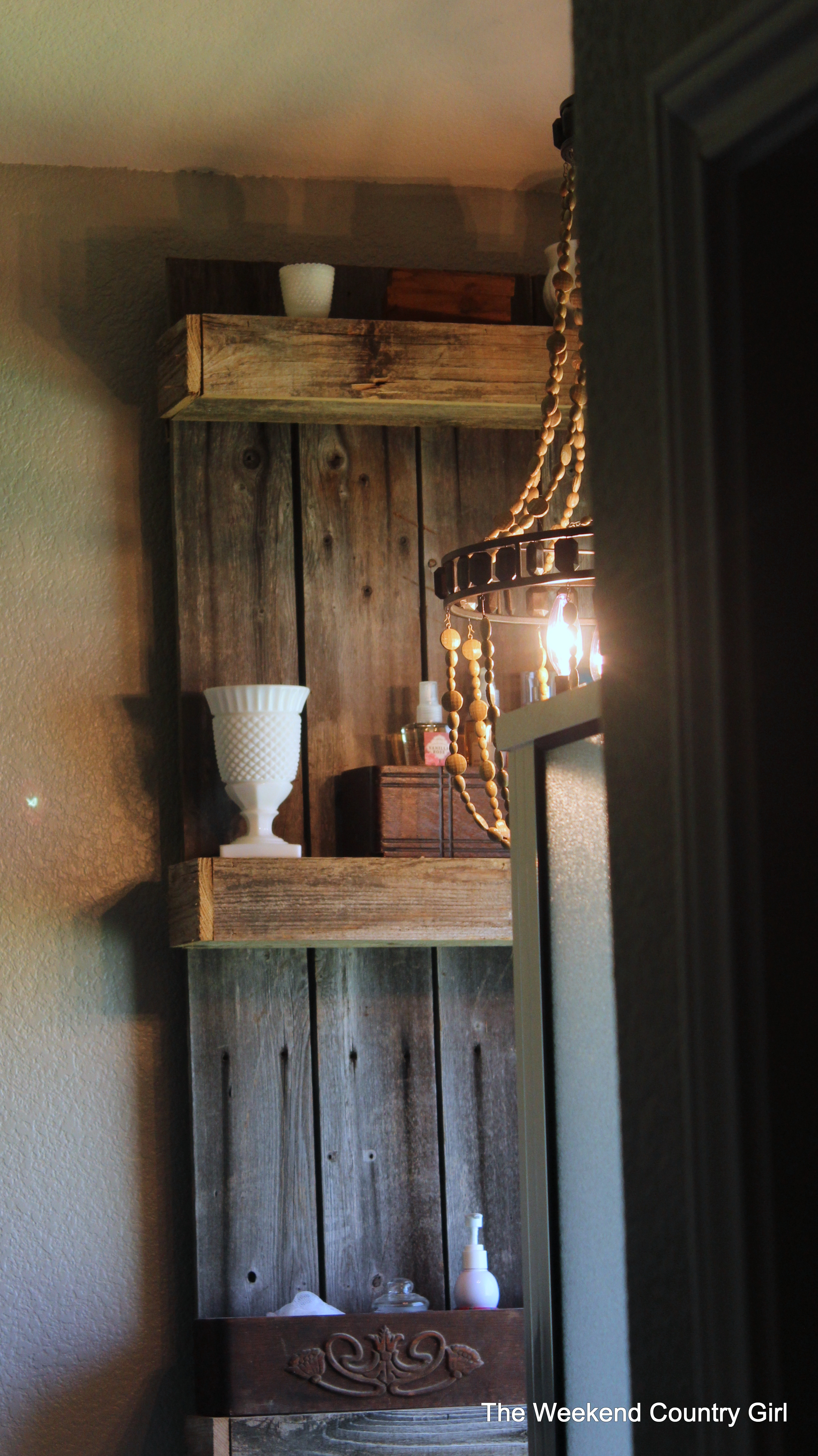 Remodelaholic  Rustic Bathroom Makeover with Board and Batten  Chandelier