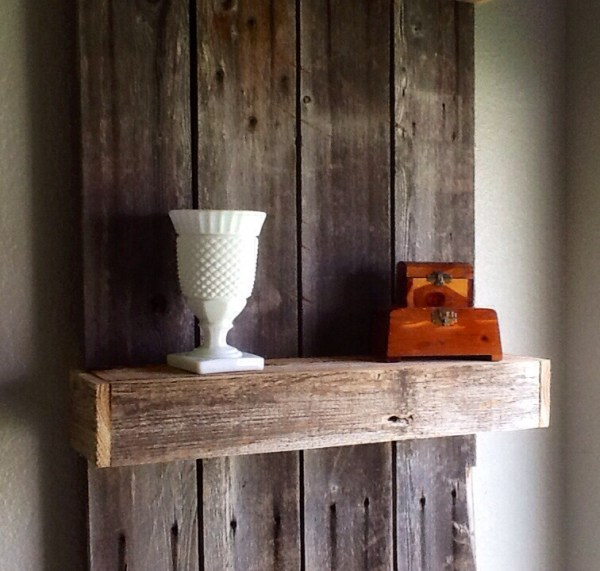 Using weather wood to create a rustic shelf by The Weekend Country Girl featured on @Remodelaholic