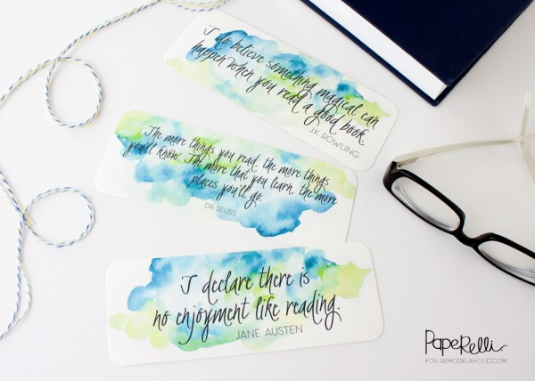 Watercolor Printable Bookmarks | Paperelli @Remodelaholic