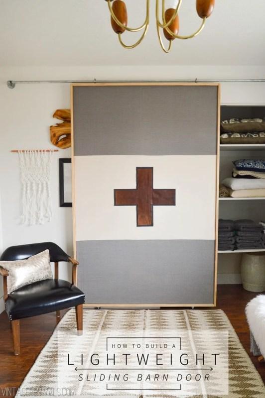 build a lightweight fabric sliding barn-style door - Vintage Revivals
