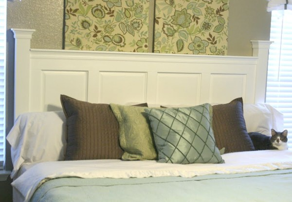 cabinet door headboard tutorial @Remodelaholic