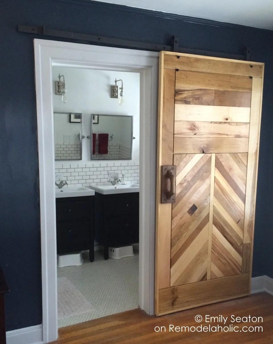 diy chevron barn door building tutorial - Emily Seaton on @Remodelaholic (10) & Remodelaholic | 35 DIY Barn Doors + Rolling Door Hardware Ideas