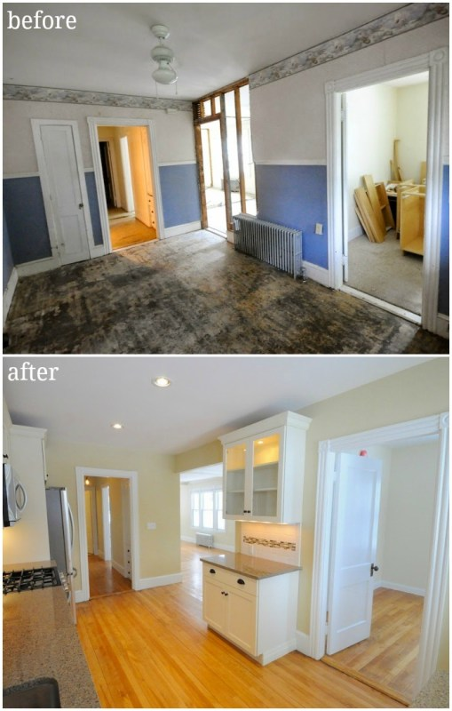 duplex kitchen updated with wall taken out creamy white cabinets tile backsplash before and after - SoPo Cottage on @Remodelaholic