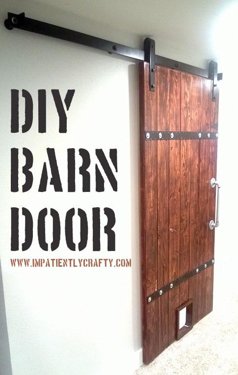 easy wood barn door with pet door and industrial metal accents - Impatiently Crafty