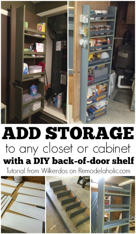 Add closet or cabinet storage by building a shelf on the back of the door @Remodelaholic