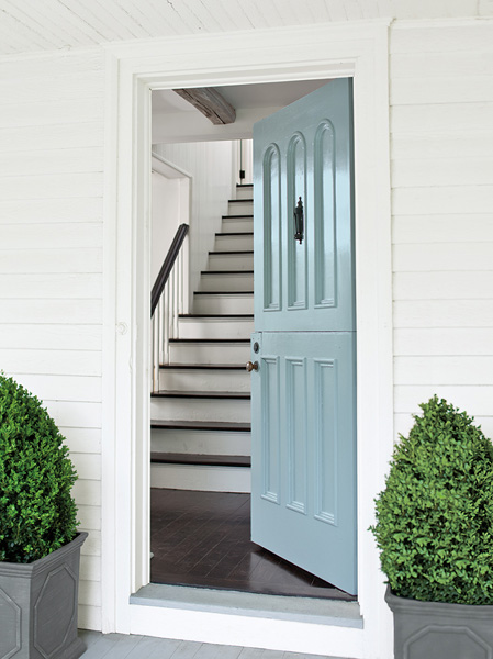 Beautiful Doors - entry door in Benjamin Moore Breath of Fresh Air