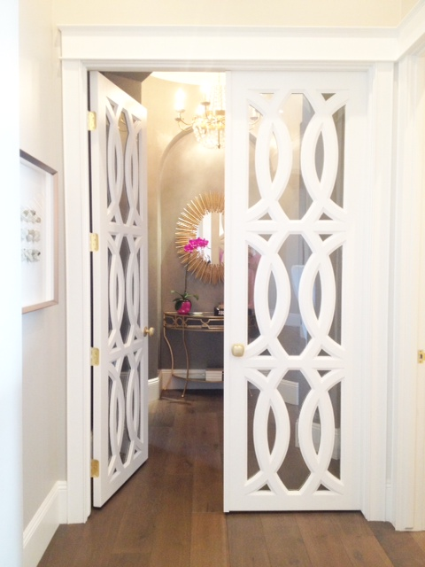 Beautiful Doors - white French doors with circular trellis design via Klury