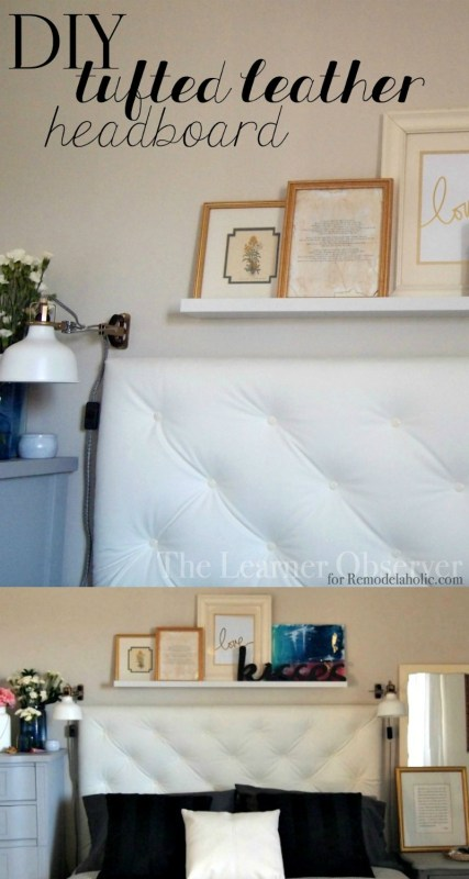 DIY Tufted Leather Headboard Tutorial by The Learner Observer @Remodelaholic