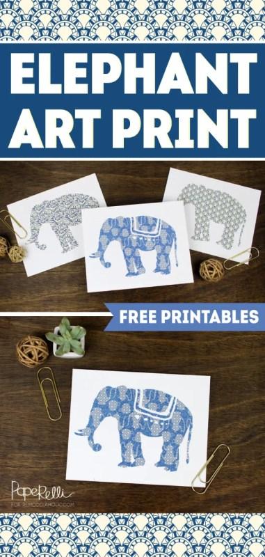 FREE PRINTABLE! Set of 3 Elephant Art Prints | designed by Paperelli for Remodelaholic.com