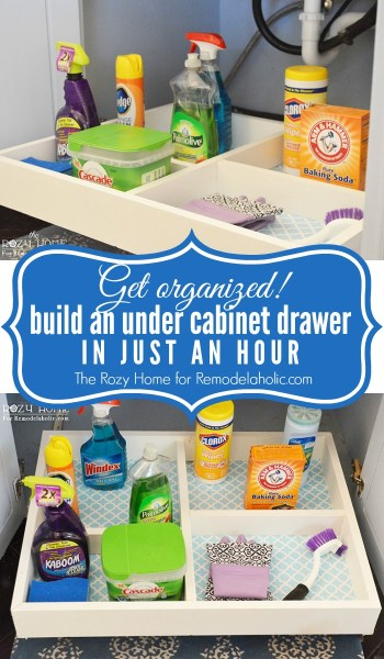How to build a slide-out under cabinet storage drawer -- only takes about an hour, including painting, plus costs so much less than buying one! @Remodelaholic