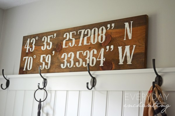 DIY Reclaimed Longitude/Latitude Sign| Finished Sign