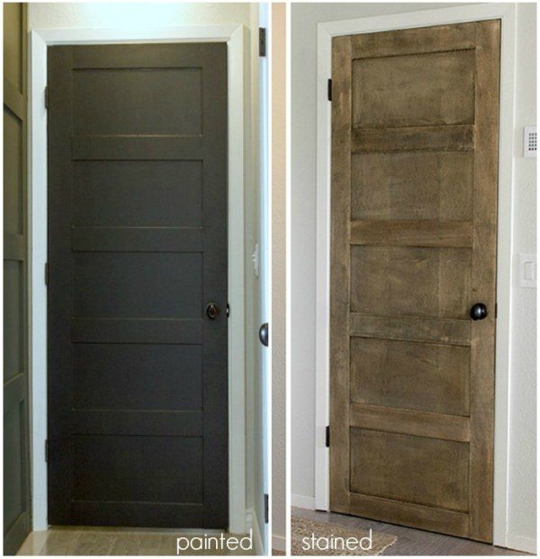 Make a DIY 5 panel door from a flat door - Jenna Sue Designs on @Remodelaholic