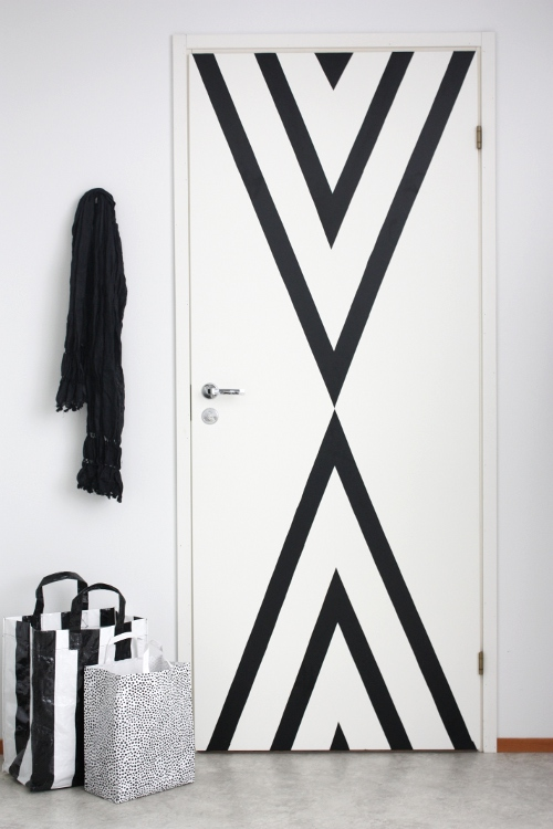 black striped contact paper door update, renter-friendly