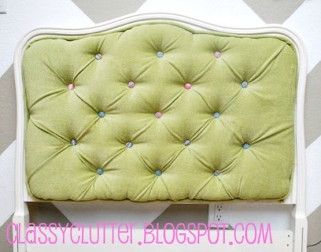 diy tufted upholstered headboard on traditional carved wood headboard frame