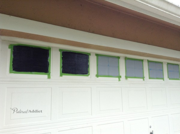 faux painted windows - garage door makeover - A Pinterest Addict