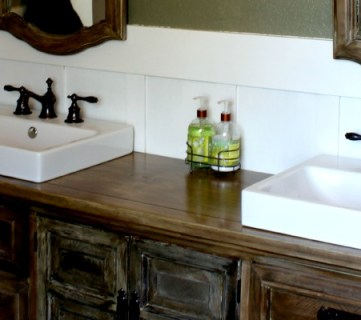 Rustic Bathroom Makeover with Board and Batten + Chandelier