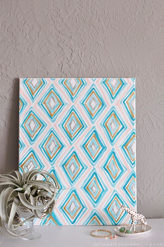 Easy Art Ideas for Kids Room Decor: painted projects - diy geometric art Delineate Your Dwelling