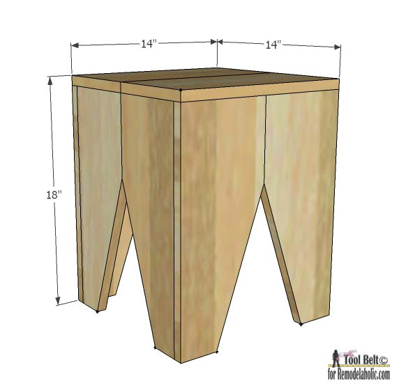 Need some extra seating?  Build a modern block stool with these easy and free plans.
