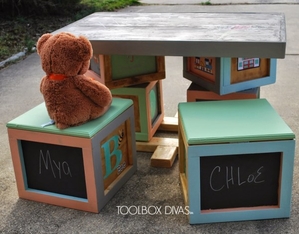 Building Block Playtable with Storage Seats and Chalboard Top by ToolBox Divas for Remodelaholic