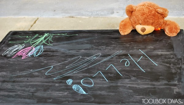 Chalkboard Top for Childrens Playtable by ToolBox Divas for Remodelaholic