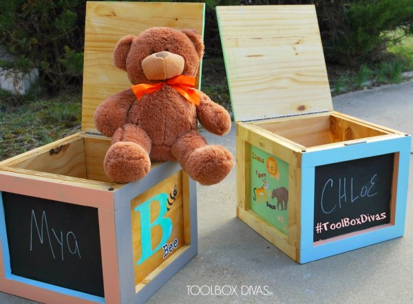DIY Building Block Seats with Storage and Chalkboard Sides by ToolBox Divas for Remodelaholic